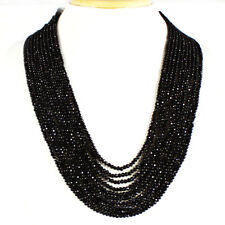 SUPERB 356.00 CTS NATURAL 10 LINE RICH BLACK SPINEL ROUND FACETED BEADS NECKLACE