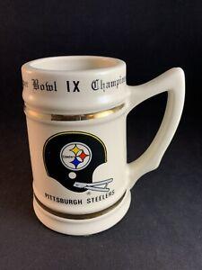 Vintage 1974 Pittsburgh Steelers Super Bowl IX Champions Ceramic Stein Mug