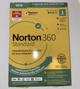 Norton 360 Standard- 1 Year- 1 Device- US Canada -Real-time Threat Protection