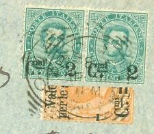 Italy 2c Overprint Pair + Bisect used on Old cover