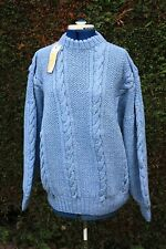 New size 22 chest 48 in hand knitted wool Blue cable jumper 60% wool 40% acrylic