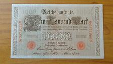 DINERO ALEMANIA REICHSBANKNOTE 1000 MARK 1910 con SELLO BANCO CAMBIO TORINO