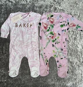 BNWT Baby Girls TED BAKER X2 Sleepsuits Babygrows 2021 NEW DESIGNER 3-6 Months