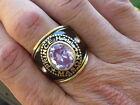 12x10 mm Mason Masonic Prince Hall June Lt. Amethyst CZ Stone Men Ring Size 9