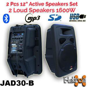 E-lektron 2 X 12 inch 1600W Active Speaker Loud Sound System PA SD/USB Bluetooth
