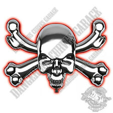 1 12V Chrome Red LED Skull & Bones Emblem 3M Self Adhesive 3D Car Decal Logo