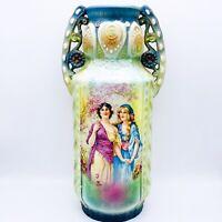 """Antique Austrian Robert Hanke Double Handle Porcelain Ladies Portrait Vase 11""""H"""