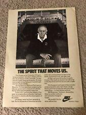 "Vintage 1980 NIKE RUNNING BILL BOWERMAN Poster Print Ad ""SPIRIT THAT MOVES US"""