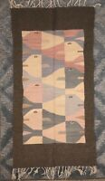 Vtg 53x28 Wool Southwest Wall /Rug Abstract Fish Design Boho Chic Textile Fringe
