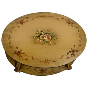 Vintage Lamerts Oval Table with bottom shelf two tier hand painted Flowers