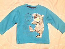 Boys 'Grizzly Bear' Blue Long Sleeved T-Shirt by TU - Size: 12-18 months