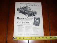 1957 RENAULT DAUPHINE CASTROL OIL - ORIGINAL VINTAGE AD