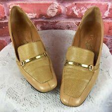 Vintage Rosina Ferragamo Schiavone Women's Beige Leather/Snakeskin Heels Size 8.