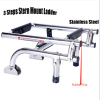 New Marine Boat Foldable Stainless 3 Step Ladders Stern Mount W/ Rubber Grips-BM