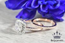 Ladies 18K Rose Gold Plated Diamond Solitaire Engagement Wedding Bridal Ring Set