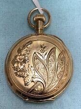 Case Pocket Watch 34mm Running Antique 14k Solid Gold Elgin Hunting