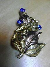 Sterling Large Blue Rhinestone leaf Brooche Vintage / Antique 1/20 12K GF on