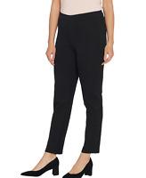Isaac Mizrahi Live! Regular 24/7 Stretch Slim-Leg Lace Trim Pants Black Plus 24