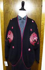 Vintage Kansai Yamamoto Wool Embroidered Sequin Koi Fish Cardigan Sweater Sz S