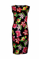 Women's Exotic Orchids Floral Retro 50's Bodycon Cocktail Wiggle Pencil Dress