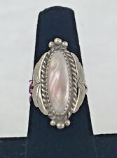 Sterling Silver Vintage style Mother of Pearl Leaf Size 5 Applique Ring  24-105