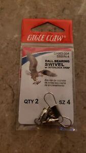 EAGLE CLAW BALL BEARING SWIVEL, w/ interlock snap  SZ 4 - 2 Pack