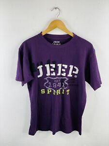 Jeep Men's T Shirt Size Small Purple Short Sleeve Crew Neck Logo Casual