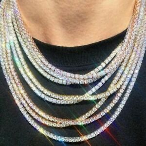 1pc Chunky Cubic Zircon Necklaces Cuban Link Chain Necklace Men Fashion Jewelry