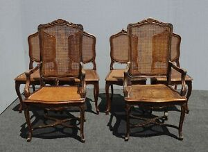 Set Six Spanish & French Style Cane Dining Throne Chairs SCs w Embossed Leather