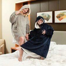 Oversized Hoodie Wearable Blanket Sherpa Lining Plush Sweatshirt Warm Pullover