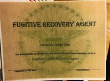 Fugitive Recovery Agent - Certificate- Comes Blsnk- Fill In Owm Info