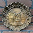 Vintage German Carved 3-D Wood Wall Plaque Plate ~ Bernkastel An Der Mosel