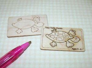 """Miniature Laser-Cut Turtle Puzzle KIT, 1 1/2"""" x 15/16"""" DOLLHOUSE Miniatures 1:12"""