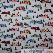BonEful Fabric Cotton Quilt VTG White Snow*flake Scenic Country Xmas House SCRAP