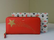 Fossil Sydney Real Red Gold Star Leather Zip Around Clutch Wallet in Gift Box