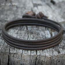Mens Leather Bracelet Surfer Multi Wrap Cuff Brown Cord Surf Eco Handmade Sol