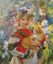 ZOPT574 head flower little girl handing cat painted oil painting art on canvas