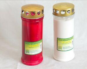 24 St. Grablichter Wochenbrenner mit Golddeckel 100% Pflanzenöl rot/weiß