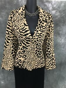BEAUTIFUL St John collection jacket knit black beige suit blazer size 14