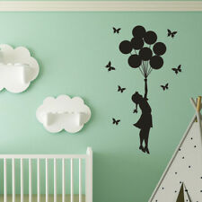 Black Silhouette Girl Balloon Wall Sticker Decal Kids Room Decor Removable Fashi