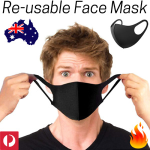 BLACK Washable Reusable FACE MASK Adult Kids Size Protective Mouth Breathing PPE