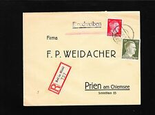 Germany Hitler Head 12&30p Registered Reit 1943 Factory Weidacher Preprint 6y