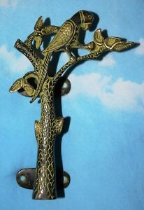 Vintage Style Tree With Parrot Shape Front Door Handle Brass Home Door Dec MJ191