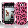For T-Mobile HTC myTouch 4G Slide Crystal BLING Hard Case Cover Hot Pink Leopard