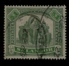 Three Elephants British Selangor Malaya State Used Dated Postmark 1902 Sc36 $150