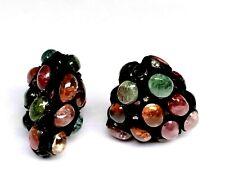 2 Pis Antique Beads Tourmaline Gemstone And Pave Diamond 925 Silver Fine Beads
