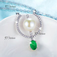 18k white gold gf crystal pearl green jade pendant adjustable chain necklace