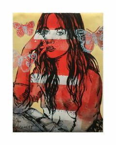 """DAVID BROMLEY """" RED NUDE BUTTERFLIES """" STUNNING LIMITED EDITION PRINT"""