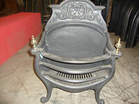 Superb Victorian heavy duty cast iron and brass fire basket