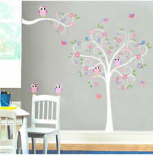 Owl Scroll Tree Wall Sticker Nursery Decor Girls Room Decal Mural Art Gift Diy